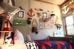 Funky, Eclectic Nautical Gallery Wall - works in a kids room or nursery!