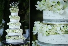 A traditional multitiered wedding cake featuring white flowers between layers. White Cakes, White Wedding Cakes, Wedding Cakes With Flowers, Phalaenopsis Orchid, Orchids, Pink Garden, Garden Roses, Parrot Tulips, Gum Paste Flowers