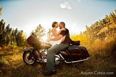 Trash the dress -  motorcycle, sun, country