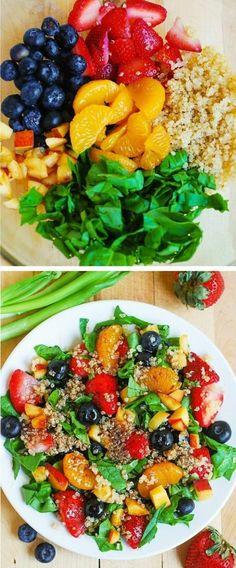recetas-de-verano-con-espinaca-frutas-y-quinoa Healthy Groceries, Fast Healthy Meals, Healthy Eating, Veggie Recipes, Diet Recipes, Healthy Recipes, Quinoa, Food Goals, Lunch Snacks