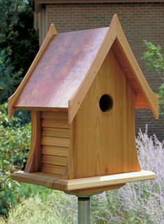 Attractive birdhouse with copper roof suitable for many types of birds House has ventilation gaps and weep holes to keep birds comfortable and dry House is made of untreated rot