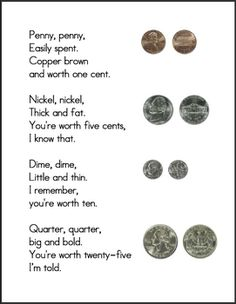 Money Poem including real pictures of a penny, nickel, dime, and quarter. Appropriate for Elementary level students. Constructed using Microsoft Wo...
