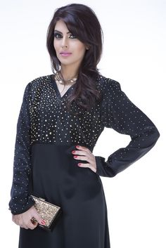 Starry Night Abaya is tailored using satin crepe fabric with the bodice featuring golden hand beaded detailing. A chiffon-made hijab completes the look.  #abaya #fashion #muslim #style #KSA #USAmuslim #UKmuslim #EGYPT #Jordan #islamicfashion #jeddah #hijablover #hijaber #abayalover #abayadesign #hijabmodern #elegance #hijaboutfit #jeddahstyle #muslimtrend #muslimstyle #jeddahfashion #abayacollection #عباية #موضة…