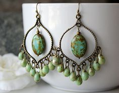 Green Picasso Czech Glass Chandelier Earrings, Green  Bohemian Hoops, Large Boho Dangles, Boho Chic Jewelry, Gypsy Jewelry