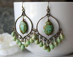 Green Picasso Czech Glass Chandelier Earrings, Green  Bohemian Hoops, Large Boho Dangles, Boho Chic Jewelry, Gypsy Jewelry