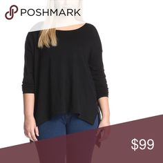 Asymmetrical High Low Scoop Neck Sweater Top Plus Your new favorite cozy top! Cute, relaxed fit, high low hem perfect for leggings, and a super soft, luxe knit. Available in XL/1X  ❌ Sorry, no trades. fairlygirly Sweaters Crew & Scoop Necks