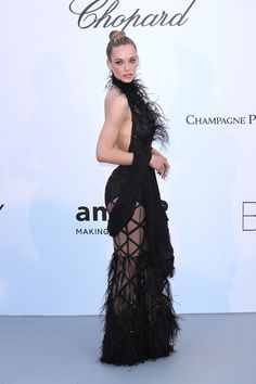 Picture of Hannah Ferguson Black Dress Red Carpet, Red Carpet Looks, Dress Black, Cannes, Hannah Ferguson, Chopard, Formal Dresses, Pictures, Fashion