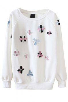 Round Neck Beaded Floral Long Sleeve Sweatshirt