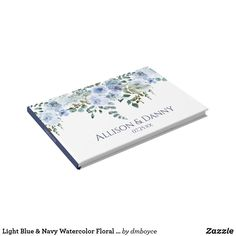 Light Blue & Navy Watercolor Floral Wedding Guest Book
