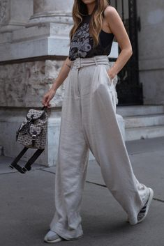 Airy linen is made for Summer and everything in-between. / STYLED BY K Summer Looks, Wide Leg Pants, Fashion Photo, Street Photography, Latest Trends, Personal Style, Jumpsuit, Street Style, Style Inspiration