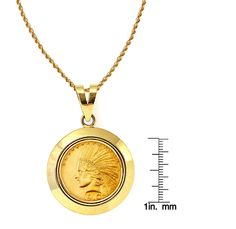 "$10 Indian Head Gold Piece Eagle Coin in 14k Dome Shape Bezel (18"" - 14k Gold Rope Chain)"
