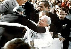 Pope John Paul II was shot at point blank range in St. Peter's Square on the Anniversary of the very moment of the First Apparition of Our Lady of Fatima. Saint Jean Paul Ii, Pape Jean Paul Ii, Place Saint Pierre, Saint John, Paul 2, St John Paul Ii, Catholic Saints, Roman Catholic, Catholic News