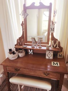 My 'shabby' auction bargain dressing table, lovingly dressed with M's ❤