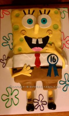Coolest Spongebob Cake... This website is the Pinterest of birthday cake ideas