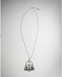 Silver Star Wars Darth Vader Necklace - Spencer's