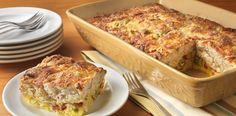 Salami and artichoke #strata, an easy, savory #brunch #recipe.