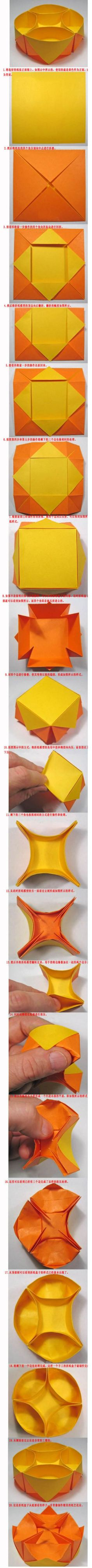 "written directions for this origami ""snack"" bowl, but it's pretty easy to figure out. Use at least a sheet of 8 X 11 inch paper Diy Origami, Origami And Kirigami, Paper Crafts Origami, Origami Tutorial, Diy Paper, Oragami, Basic Origami, Modular Origami, Origami Frog"