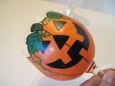 Jack-O-Lantern Painted Wine Glass. $30.00, via Etsy.