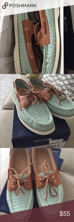 A/O Turquoise Woven Sperrys Beautiful never worn Sperrys. Wish I could keep them, but they don't fit . Sitting in my closet ready to GO! Sperry Top-Sider Shoes Flats & Loafers