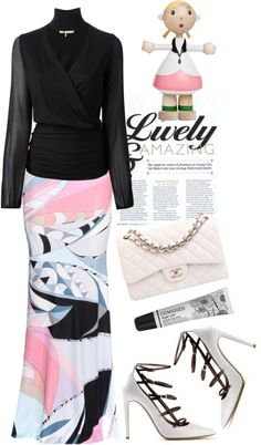 """Emilio Pucci printed stretch skirt"" by mazkool on Polyvore"