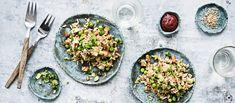 Paistettu riisi eli fried rice on helppo tapa hyödyntää ylijäänyt riisi. Paistettu riisi tofulla on vegaaninen. Noin 1,90€/annos. High Protein Recipes, Protein Foods, Rice Recipes, Vegan Recipes, Happy Foods, Baked Oatmeal, Vegan Baking, Fried Chicken, Tex Mex