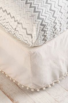 ball fringe bed skirt {urban outfitters}