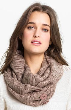 Steve Madden 'Button Up' Infinity Scarf available at #Nordstrom...so cute! I've been wanting one of these