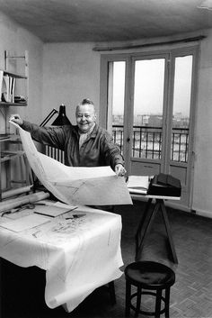Architect Charlotte Perriand at work by Robert Doisneau, 1991 Charlotte Perriand, Robert Doisneau, Le Corbusier, Man Ray, Willy Ronis, The Last Ship, Modern Architects, Famous Architects, Pierre Jeanneret
