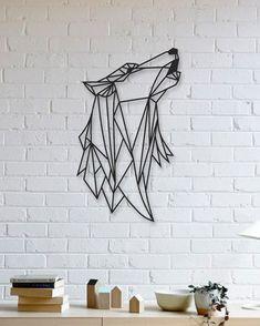 Geometric Wolf For Minimalists Who Love Animals Minimalism Minimalistdecor Forthehome – geometrischer wolf für minimali… – Decoração Geométrica Metal Tree Wall Art, Metal Artwork, Diy Wall Art, Tree Artwork, Tree Wall Decor, Wall Art Decor, Tree Sculpture, Geometric Art, Unique Home Decor