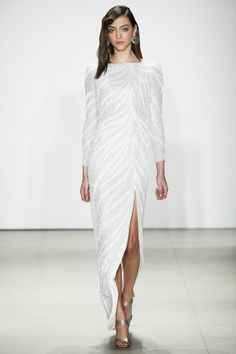Jenny Packham | Fall 2016 Ready-to-Wear | 25 White sequined long sleeve maxi dress with side slit