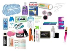 """""""A girls emergency kit for school"""" by kaisenlindsay ❤ liked on Polyvore - bags, handmade, fabric, cosmetic, sling, diaper bag *ad"""