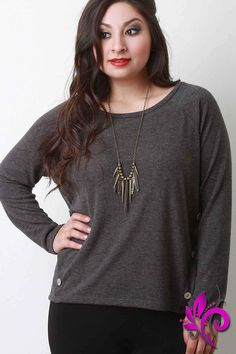 Soft Knit Buttons Accent Long Sleeves Sweater Top