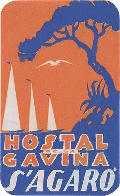 Hostal de la Gavina, S'Agaro (111mm x 68mm)Vintage travel beach poster - Spain #essenzadiriviera.com