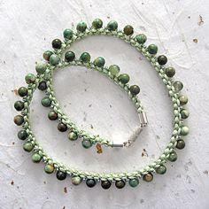Collar de Prumihimo collar de jaspe verde de Kumihimo