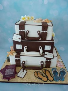 My Sister got married in Jamaica recently but we were unable to attend because of work commitments but I was over the moon when she asked if I could make her wedding cake for the party back home. They chose the style, colours and asked for the. Luggage Cake, Suitcase Cake, Fancy Cakes, Cute Cakes, Fondant Cakes, Cupcake Cakes, Bon Voyage Cake, Extreme Cakes, Travel Cake