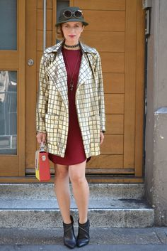 London fashion Week 2016 street style, street chic fashion blogger wearing gold coat and red dress
