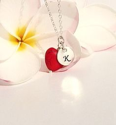 Red heart necklace personalized Initial by BijouxDesignsStudio