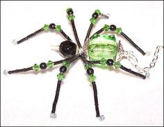 Shasta  green and black glass beaded spider goth sun by llanywynns, $14.00