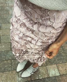 Lace skirt and ankle boots