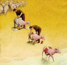 30 Illustrations By Pawel Kuczynski Showing What's Wrong With Modern Society The Polish artist Pawel Kuczynski is an absolute master, combining satire Meaningful Pictures, Powerful Pictures, Satirical Illustrations, Social Art, Political Art, Art Academy, Humor Grafico, Canvas Artwork, Sheep