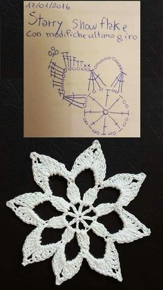 Crochet snowflake with chart...