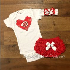 Cincinnati Reds Outfit and Headband by BebeSucreOnline on Etsy