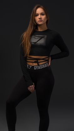 Be a part of Gymshark history. In a cool cropped length, the Blackout Long Sleeve Ribbon Crop Top is ever comfortable, effortlessly edgy and enviably stylish. #fitness #apparel #gym #workout #fitfam #fit #clothing #style