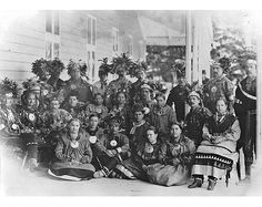 First Nations - Huron-Wendat Group from Wendake (Lorette) at Spencerwood, Quebec City, QC, 1880