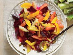 Beet-Citrus Salad with Pistachios   This is a fresh, bright, zero-effort side, thanks to precooked beets and precut fresh citrus. It makes a fine accompaniment to grilled salmon, pork, or chicken.