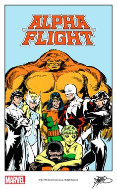 Alpha Flight by John Byrne from the cover of Amazing Heroes #22 (1983) remastered by The Marvel Project.