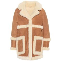 Acne Studios Lody Leather and Shearling Coat ($3,140) ❤ liked on Polyvore featuring outerwear, coats, acne, brown, brown leather coat, brown coat, shearling coat, real leather coats and beige coat