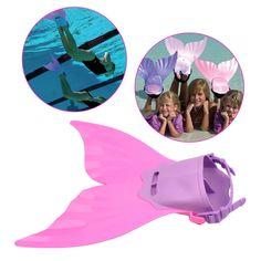 CkeyiN 174;Komfortable Verstellbare Kinderschwimmflossen Trainings Flipper Meerjungfrau Endstück Monoflosse mit Soft Strap