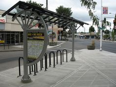 bicycle parking and map kiosk, Portland, OR by svr light table, via Flickr