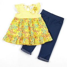 Baby girls size 24 months 2 piece yellow butterfly leggings set infant sale B509